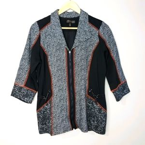 Picadilly lightweight 3/4 Sleeve Black Red Jacket